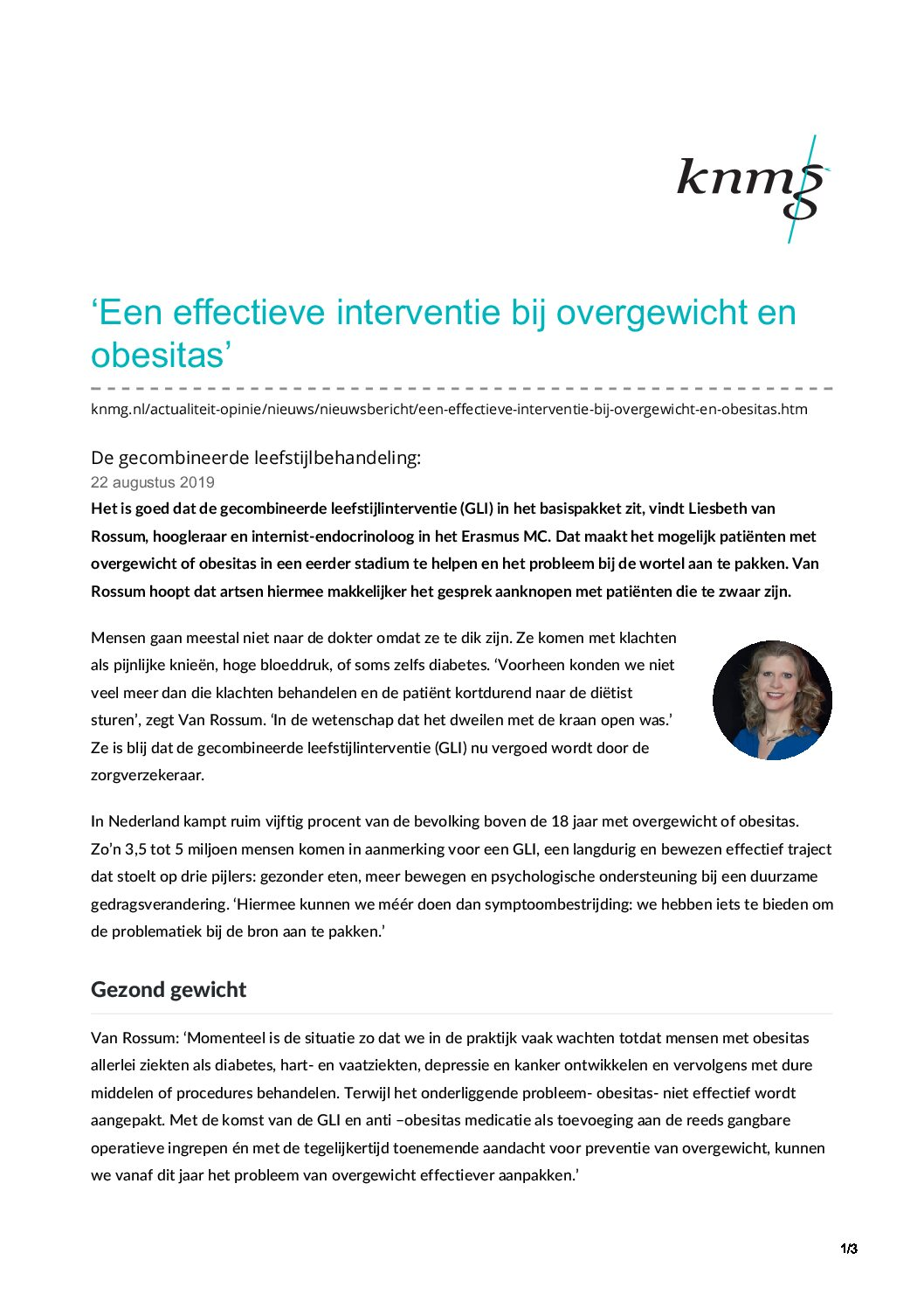 knmg nl-Een effectieve interventie bij overgewicht en